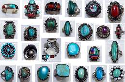 Collection of 26 Vintage Sterling & Gemstone Rings