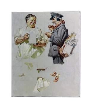 Joseph Leyendecker Postman Coffee Ad Illustration Art