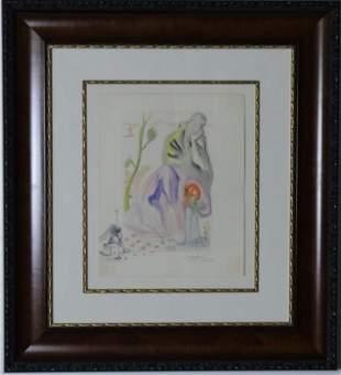 Salvador Dali Divine Comedy Woodcut w Orig Drawing