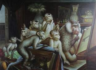 Signed Modern Surrealism Primate Monkey Oil Painting