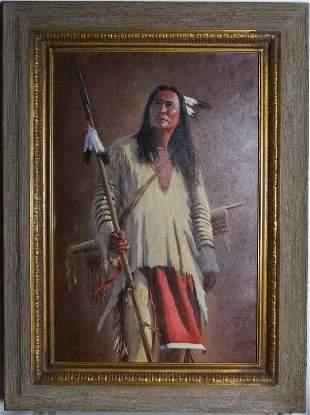 John Gawne b1952 Native American Portrait Painting