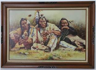 Troy Denton Native American Indian Oil Painting