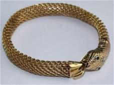 Designer 14K Gold Diamond & Emerald Snake Bracelet