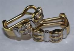 Ladies 14K Two Tone Gold 25 CTTW Diamond Earrings