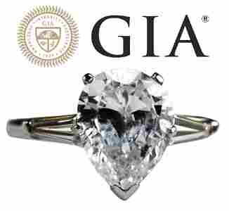 2.26ct Pear Shape Diamond Solitaire Ring GIA Cert