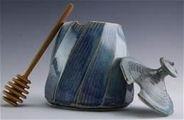 Angela Fina Studio Art Pottery Honey Pot Jar  Lid