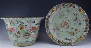 Chinese Celedon Famille Rose Canton Porcelain Planter