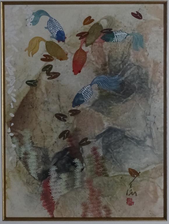 Pang Tseng Ying (1916-1997) Chinese Koi Painting