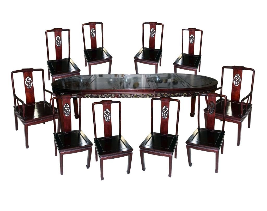 Chinese Dining Table Rosewood Bird Flower 10 Chair