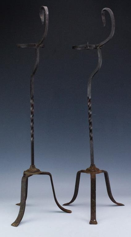 PAIR Antique Wrought Iron Ashtray Smoking Stands
