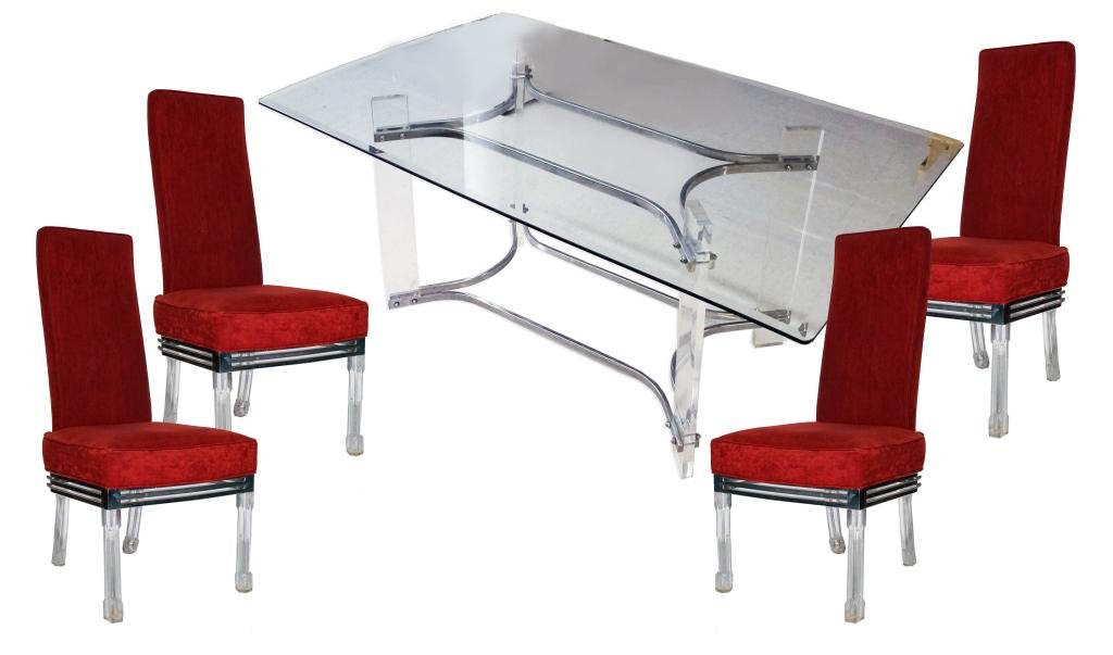 Modern Lucite Dining Room Table with 4 Chairs Set