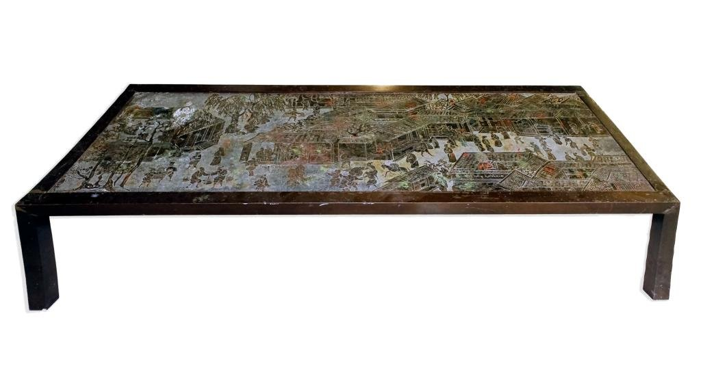 "Philip & Kelvin Laverne Bronze ""Chan"" Coffee Table"