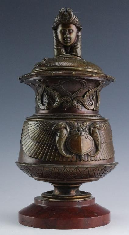 Art Deco Egyptian Revival Bronze Marble Urn w Lid