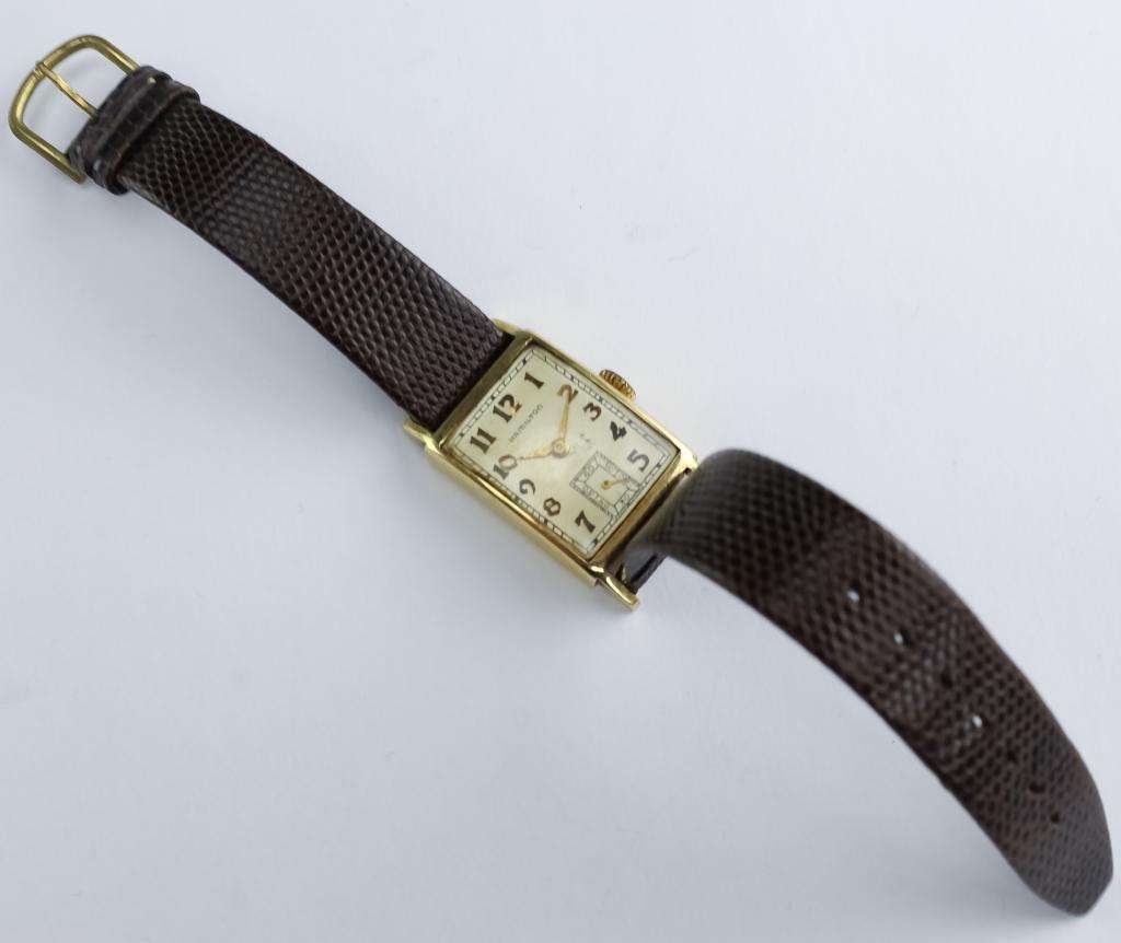 VTG Mens 14K Gold Hamilton 19J Tank Wrist Watch