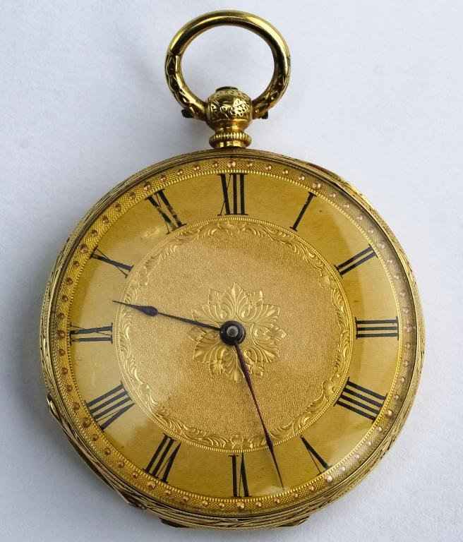 VTG 18K Gold Open Face Guilloche Dial Pocket Watch