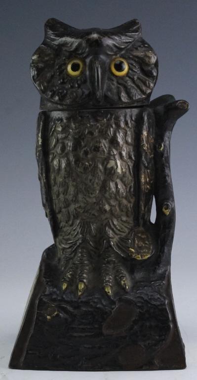 19th C Cast Iron Mechanical Owl Coin Piggy Bank