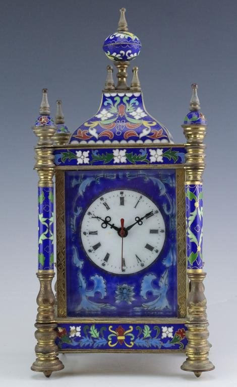 Chinese Export Cloisonne Enamel Carriage Clock