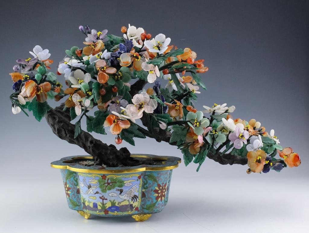 Chinese Floral Jade Tree w/ Cloisonne Flower Pot