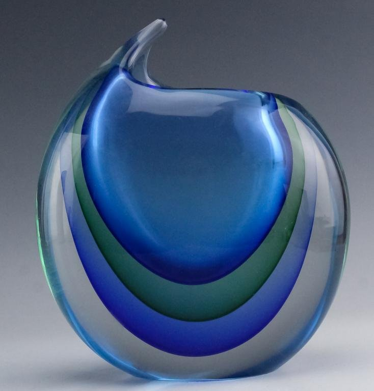 "Luigi Onesto Murano Italian Sommerso 9"" Glass Vase"