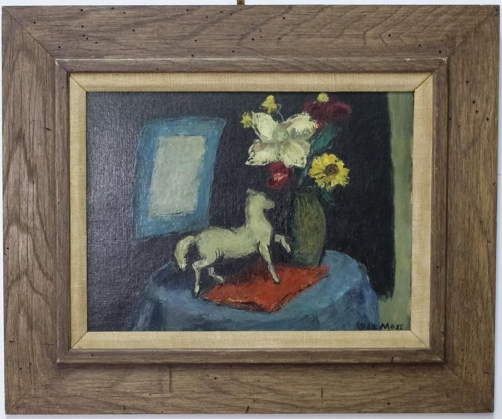 Ida Moss Mid Century Still Life Oil Board Painting