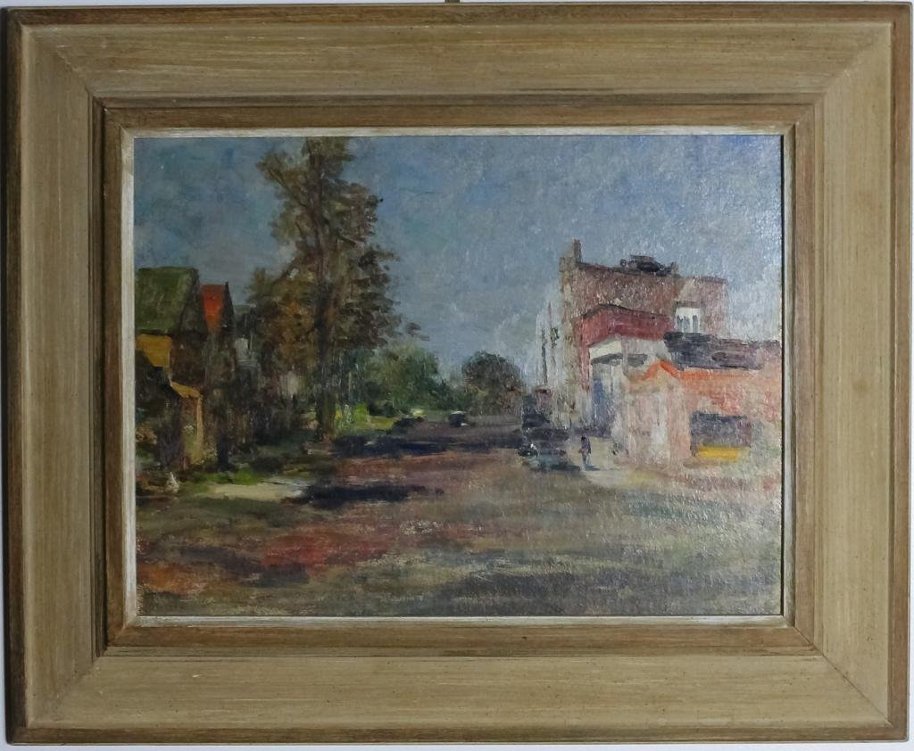 Alfred Mira American Townscape City Oil Painting