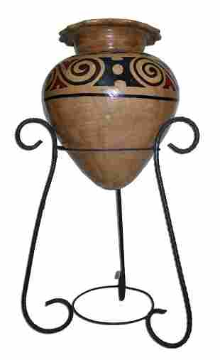 Vintage Native American Style Pottery Vase w Stand