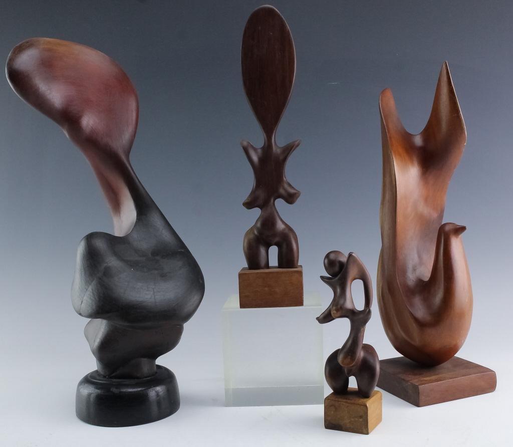 LOT 4 Cuban Modern Hand Carved Wood Art Sculpture
