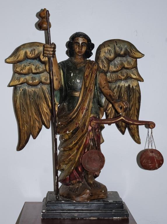 """Antique Saint Michael Wood Angel Santos 39"""" Statue"""