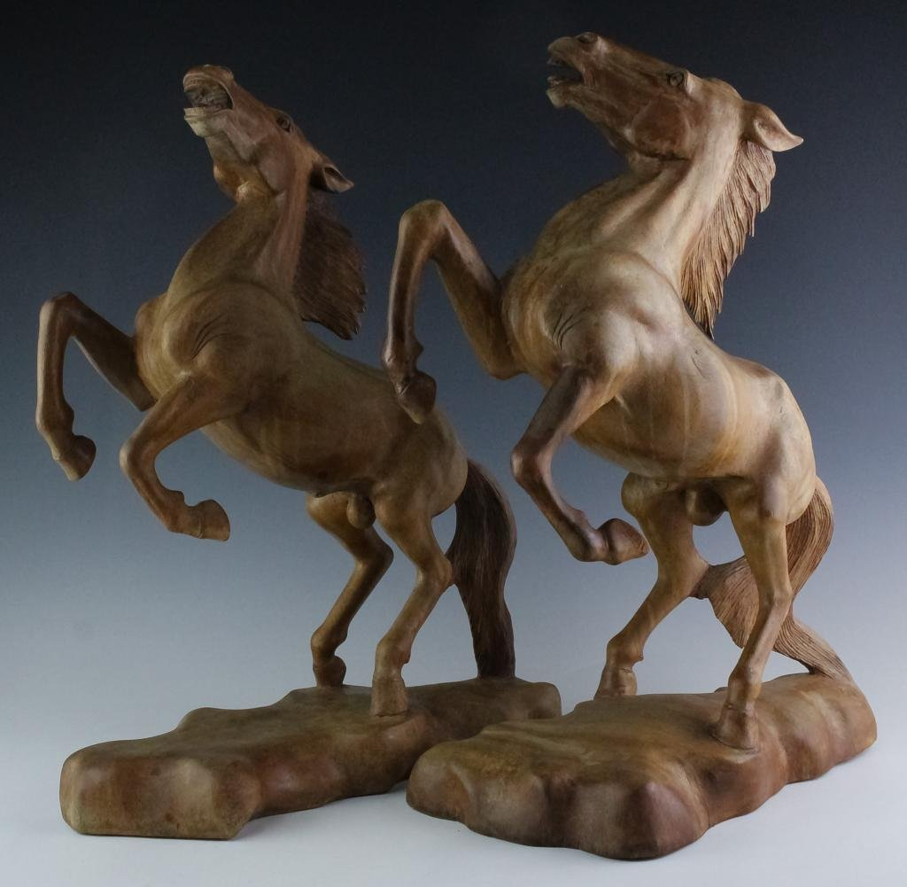 Pair Large Bali Style Carved Wood Rearing Horses