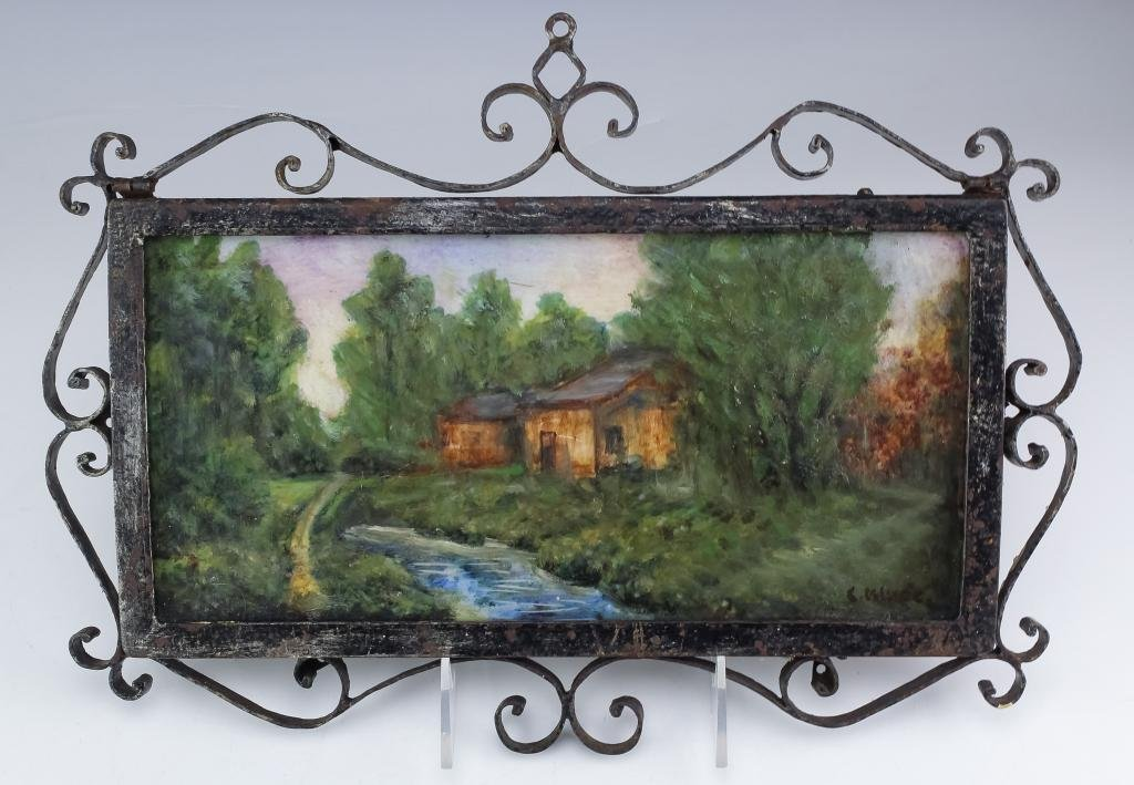 French River Landscape Painting Wrought Iron Frame