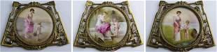 3 Antique Bronze Mount Porcelain Medallions Plaque