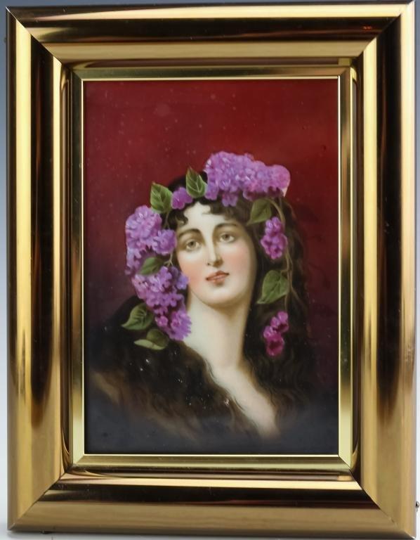 Fine Antique Porcelain Maiden w/ Flowers Portraits