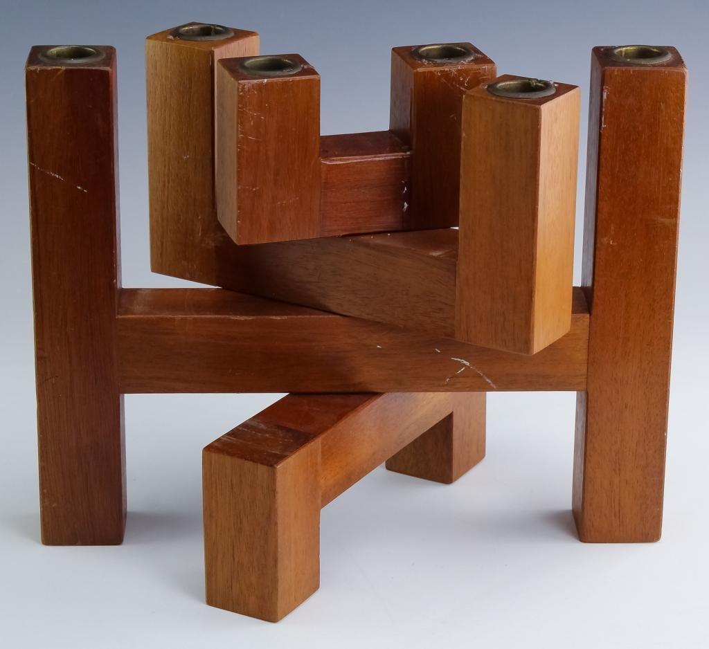 VTG Danish Modern Articulated Wooden Candelabra