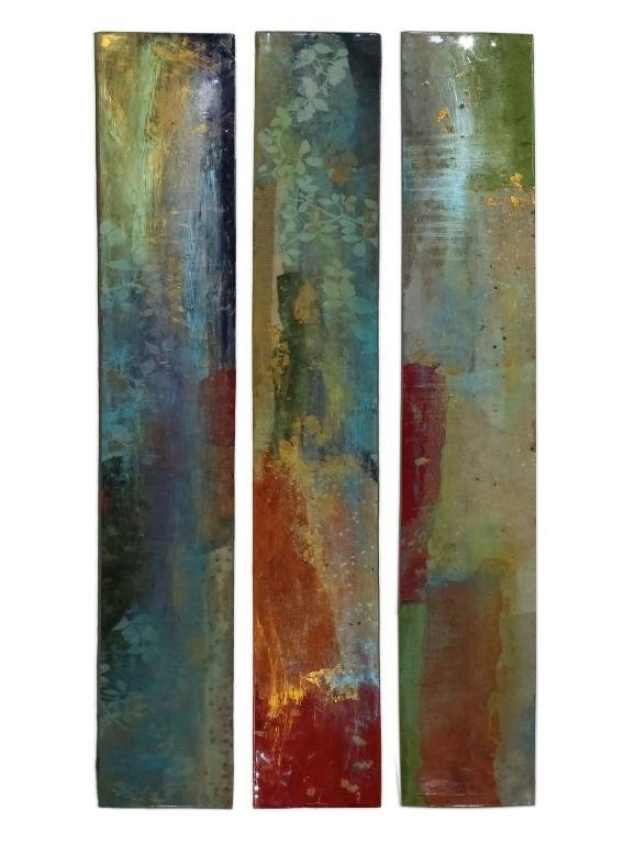 P.T. Tiersky Mixed Media Acrylic Collage Triptych