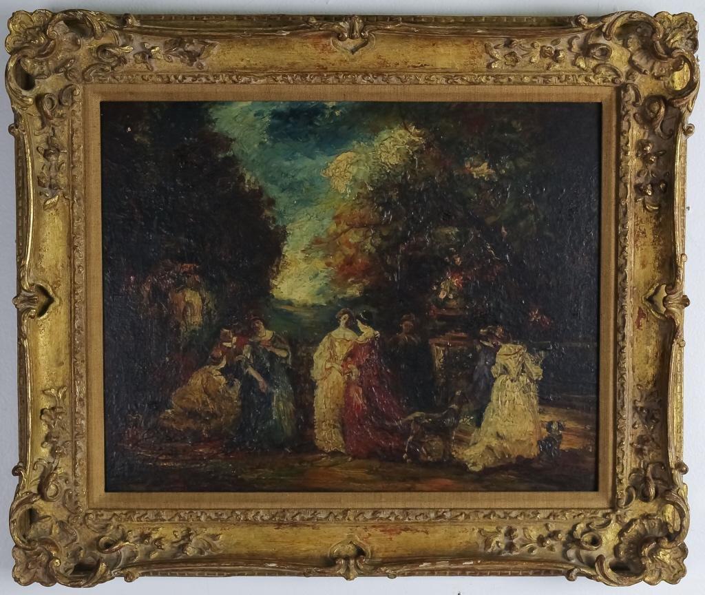 Antique Mystery Art Figural Landscape Oil Painting