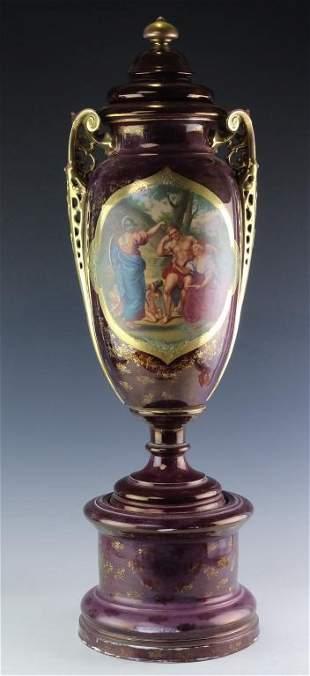 Carlsbad Austrian Style Scenic Lidded Urn 32 Vase