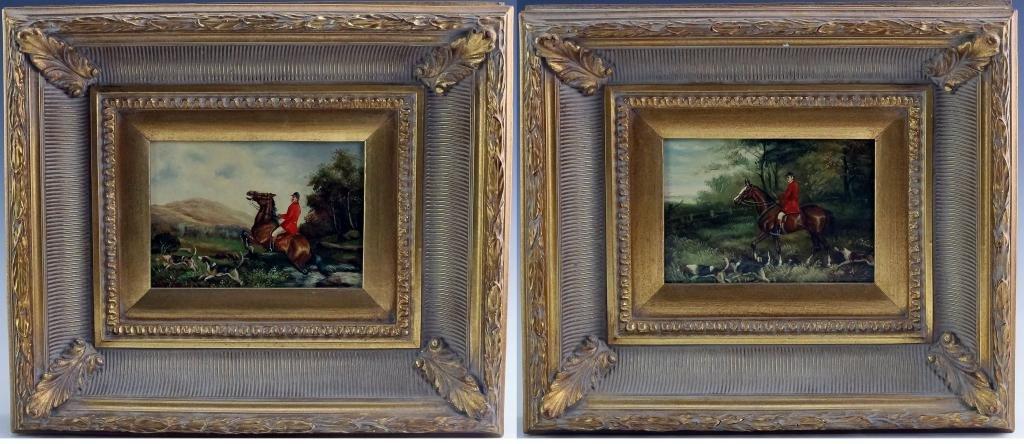 Pair B. Jones Oil On Panel Equestrian Dog Painting
