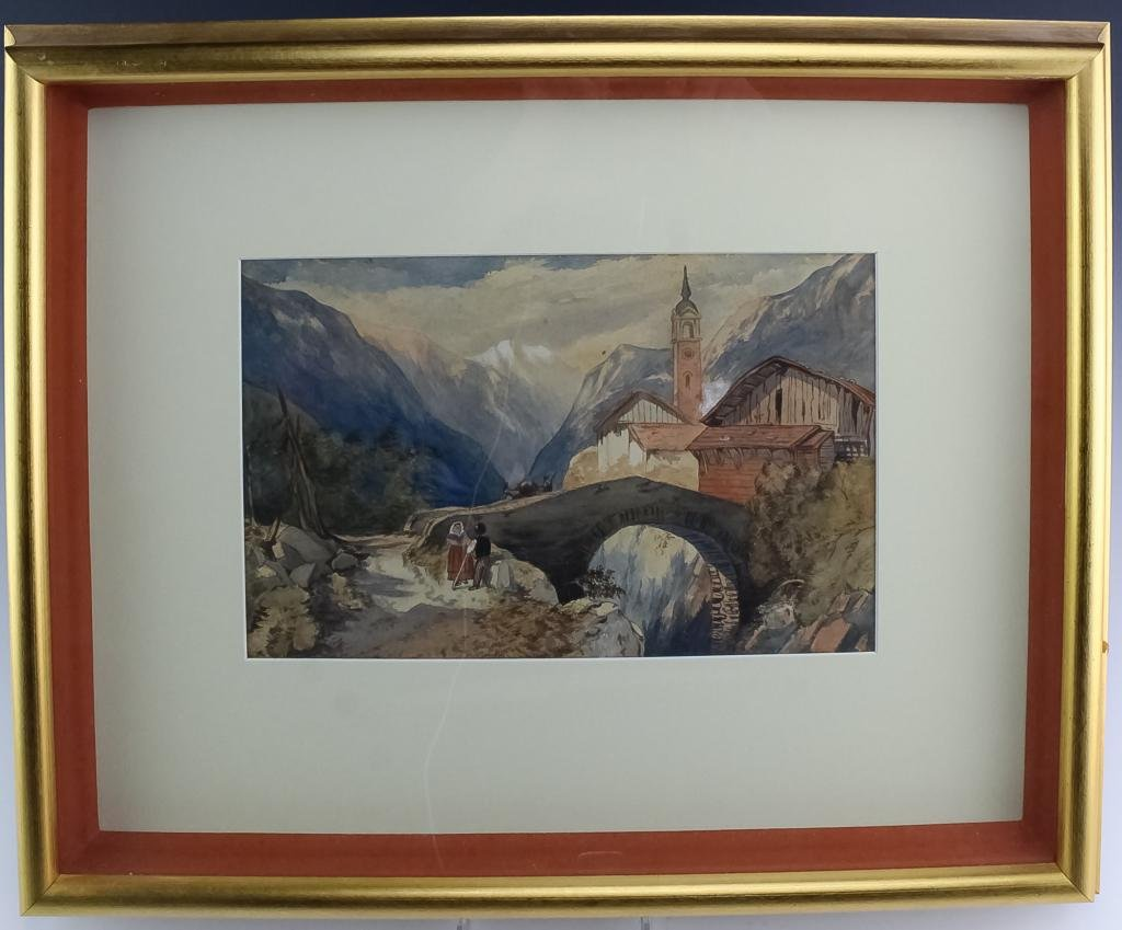 Eliza Romney 20c Watercolor Landscape Painting