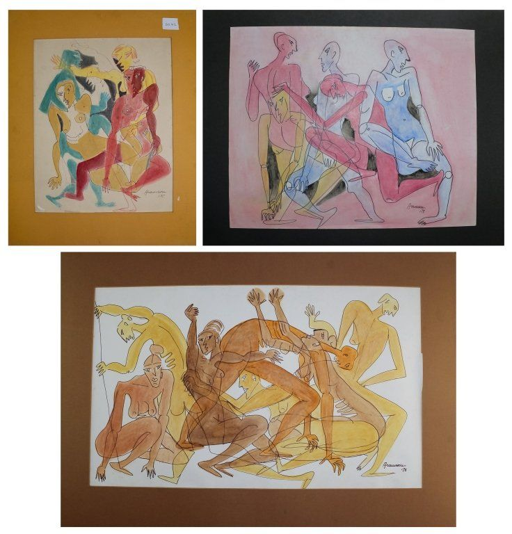 Lot of 3 Original Georgeta Gigi Aramescu Paintings
