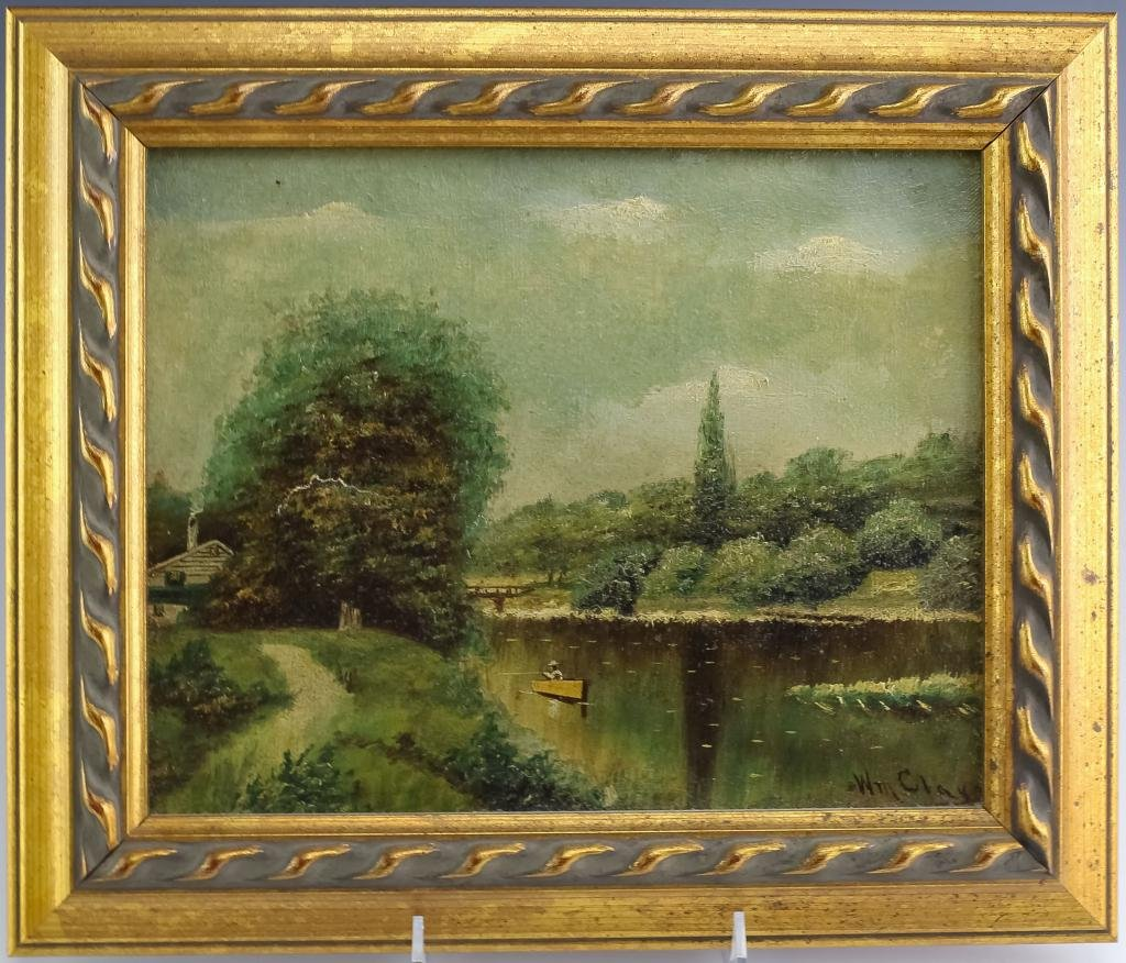 19c William Clay Landscape Painting On Canvas