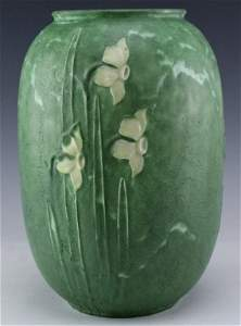"""Grueby Faience Company Two Color Daffodil Vase 11"""""""