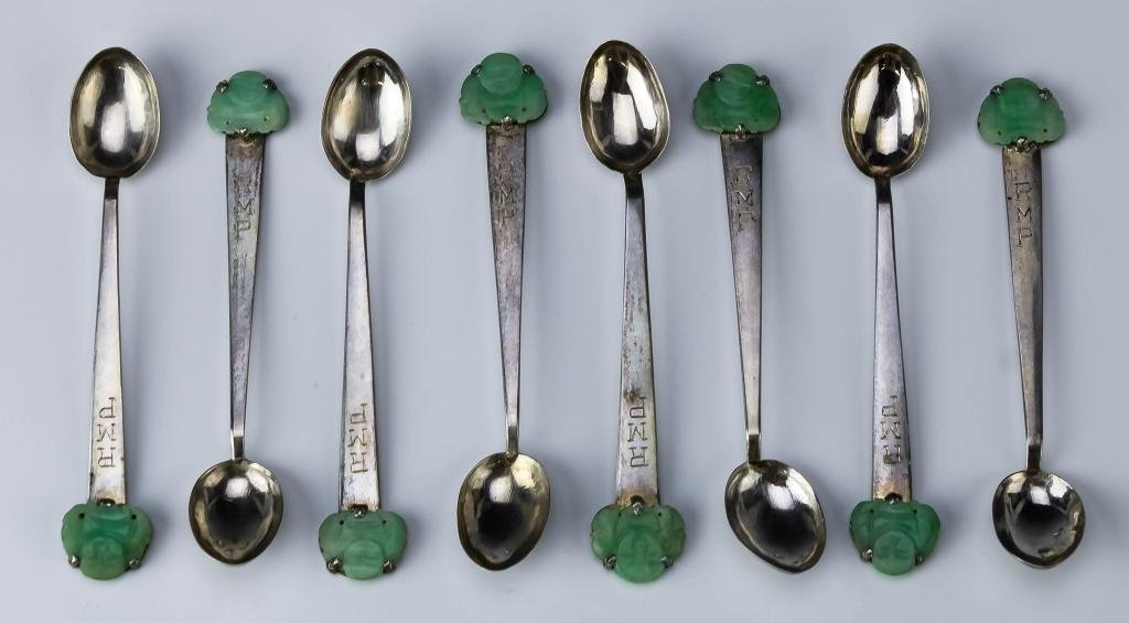 Chinese Silver Green Jade Buddha Demitasse Spoons
