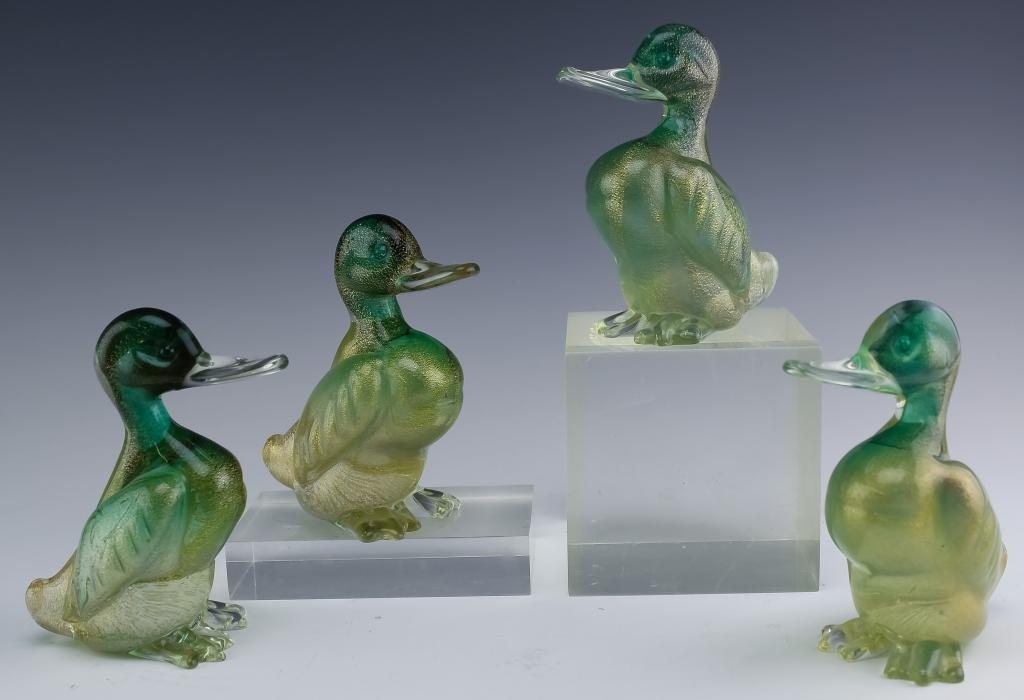 Murano Italian Art Glass Duck Bird Sculpture 4 SET