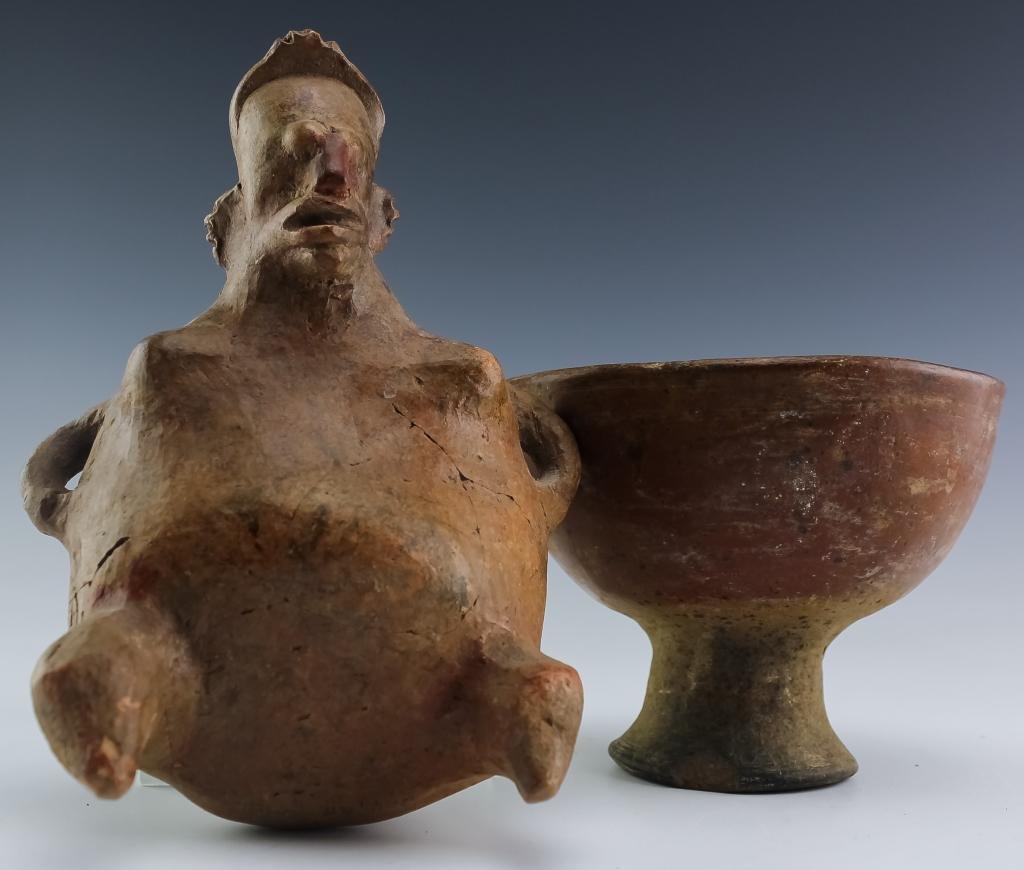 Pre-Columbian Pottery Vessel & Seated Human Figure
