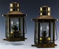 Pair of Davey & Co. London Brass Hanging Lanterns