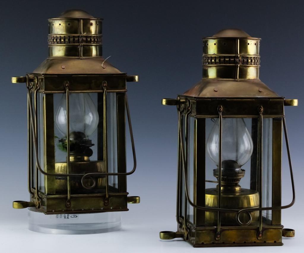 Pair of Davey & Co. London Brass Hanging Lanterns
