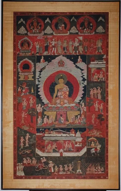 Large Antique Tibetan Buddha Thangka Painting