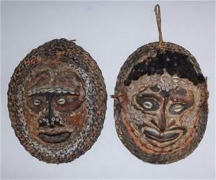 Pair VTG Sepik New Guinea Basket Cowrie Masks