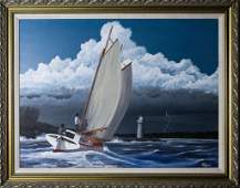 Mike Toogood Oil On Canvas Seascape Boat Painting