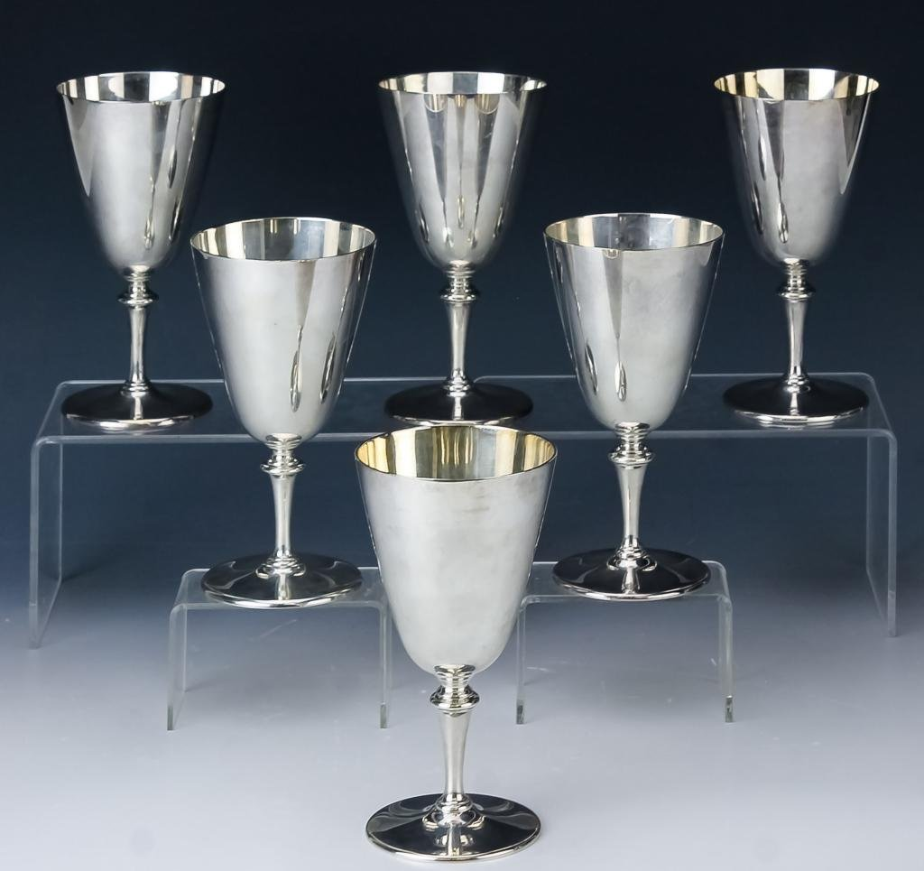 Set of 6 Tiffany & Co. Sterling Silver Wine Goblet